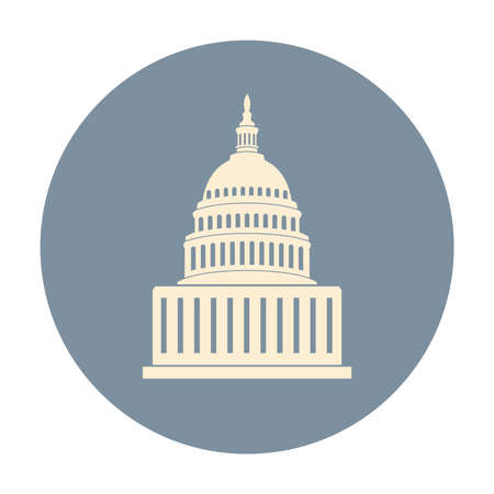 vector icon of united states capitol hill building washington dc, american congress isolated on white background