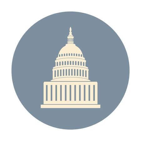 vectorpictogram van de capitolheuvel die van Verenigde Staten Washington gelijkstroom, Amerikaans congres bouwen dat op witte achtergrond wordt geïsoleerd Stock Illustratie