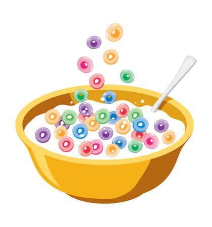 벡터 흰색 배경에 고립 된 우유에 곡물을 가진 노란색 그릇. 아침 떨어지는 다채로운 과일 시리얼 루프의 그림입니다. 아이들을위한 건강 식품 일러스트