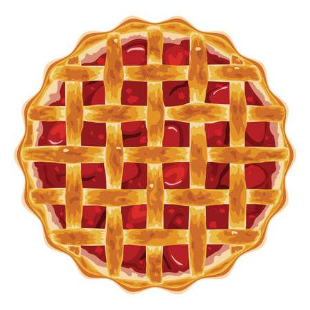 vector zelfgemaakte fruit en bessen taart voor Kerstmis, Thanksgiving en alle soorten feestdagen. crostata van de aardbei scherp geïsoleerd op witte achtergrond. bovenaanzicht van gebakken cake Stock Illustratie