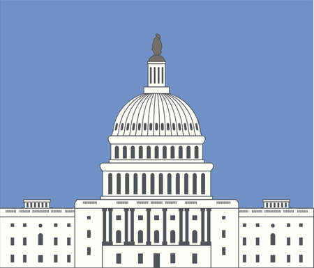 district of columbia: vector icon of united states capitol hill building washington dc, american congress dome symbol design on blue sky background Illustration