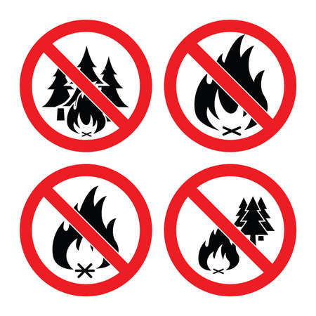 forewarning: vector collection of no forest fire icons. alarm signs with trees and bonfire isolated on white background. Illustration