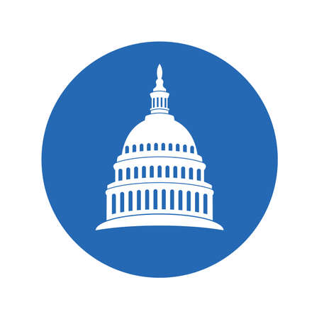 vector icon of united states capitol hill building washington dc, american congress, white symbol design on round blue background 向量圖像