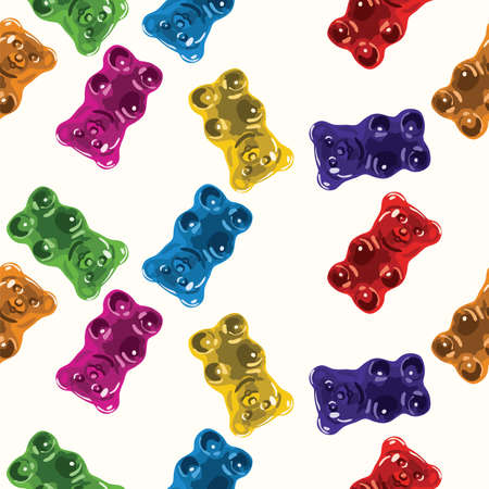 vector seamless gummy bear candies pattern. candy bears colorful background Illustration