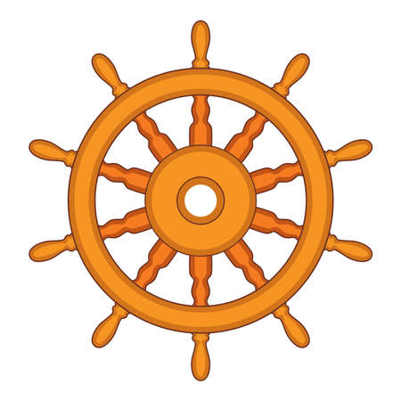 vector steering wheel of a ship, boat and yacht isolated on white background. rudder direction concept. nautical or travel symbol. wooden steer wheel