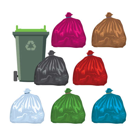 vector flat recycling wheelie bin with garbage bags full of recyclable and garden waste, isolated on white background. colorful icons of recycle industry Illustration