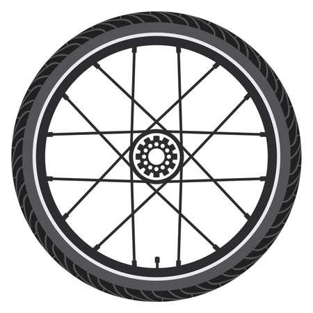 roue de vélo de vecteur isolé sur fond blanc. illustration d'un pneu en caoutchouc, de rayons et d'un engrenage. icône de sport vélo cycle ou symbole. Vecteurs