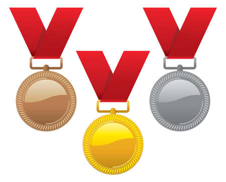 vector set of gold, silver and bronze medals with red ribbons. champion award medal icons. sport winner symbols isolated on white background. Illustration