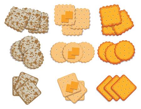 벡터 크래커 칩의 집합입니다. 흰색 배경에 고립 된 치즈 크래커의 상위 뷰. 일러스트