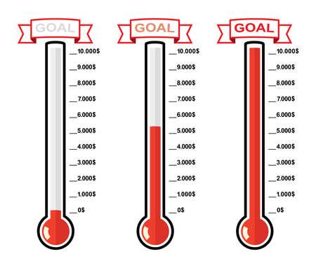 vector doel thermometers op verschillende niveaus
