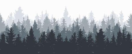 ベクトルの森の背景。灰色の冬や春の森、常緑針葉樹と自然の風景。朝のウッドランドシーンイラスト
