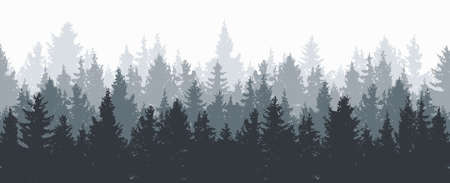 vector forest background. gray winter or spring woods, nature landscape with evergreen coniferous trees. morning woodland scene illustration Çizim