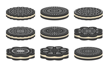 vector set of oreo cookie icons isolated on white background.