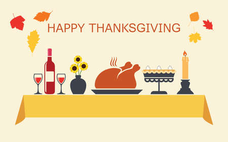 vector thanksgiving day table with bottle of red wine, sunflowers in vase, cooked turkey, pumpkin pie and candle. happy thanksgiving text with autumn leaves