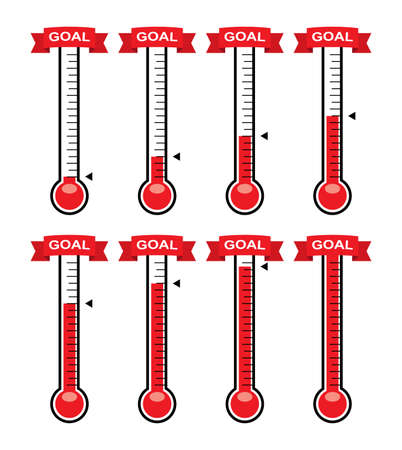 vector goal thermometers at different levels. donation for fundraise or charity goals