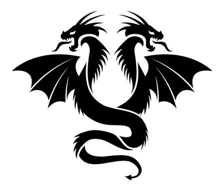 vector icon of flying two headed dragon, black and white logo illustration, chinese art
