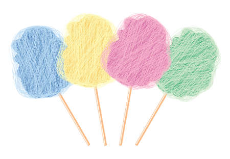 candy floss: vector colorful candy cotton set isolated on white background. collection of sweet fluffy sugar clouds, flat design style.