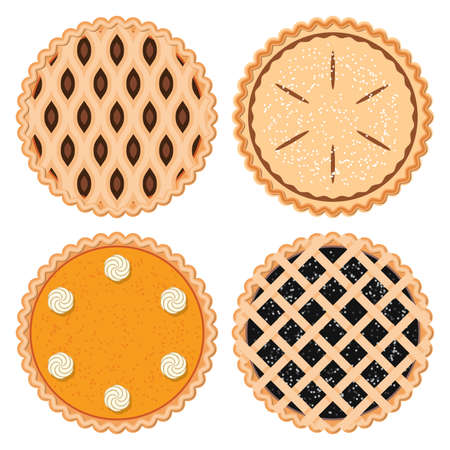 vector set of homemade berry,fruit and pumpkin pies Ilustração