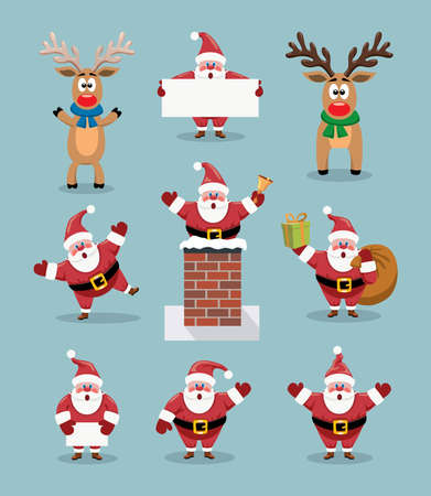 Collection of cute cartoons of Santa Claus and Rudolph the red nosed reindeer. Illustration