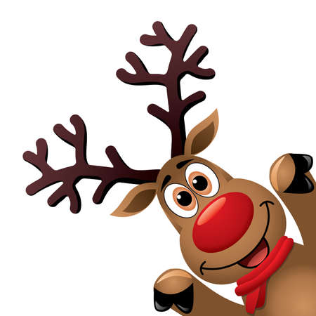 Christmas drawing of funny red nosed reindeer.