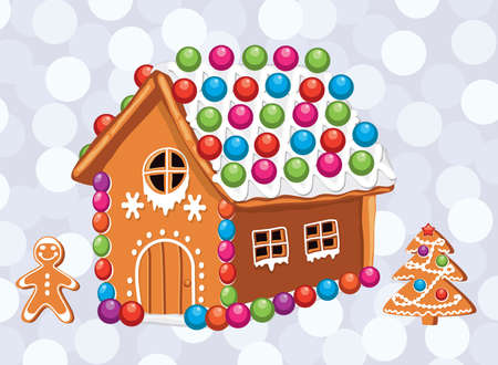 Christmas card with colorful gingerbread house. Illustration