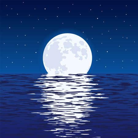 Lekki odbicie księżyca w falistej ocean wodzie i gwiazdach w ciemnym niebie.