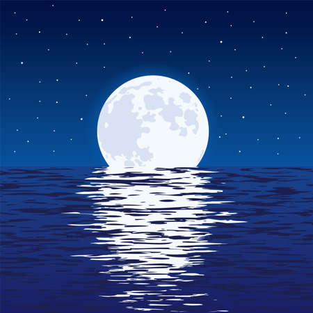 Light reflection of moonlight in wavy ocean water and stars in dark sky.