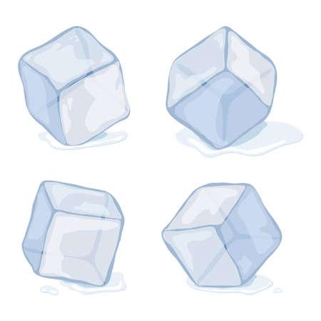Ice cubes isolated on white illustration. Vettoriali