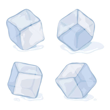 Ice cubes isolated on white illustration. Çizim