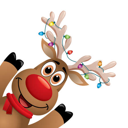 Cartoon Rudolph deer with red scarf and Christmas lights on big horns.