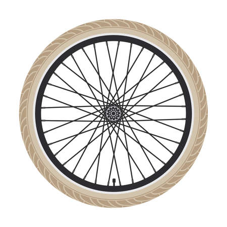 Illustration of bike rubber tire,spokes and gear.