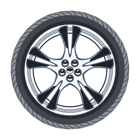 Car tire and alloy wheel isolated on white. Illustration
