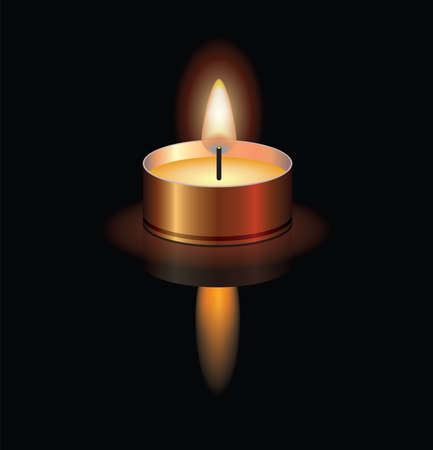 vector illustration of a small burning candle for christmas, spa, religious, memorial or funeral backgrounds. candle light reflection. eps10
