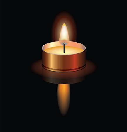 Vektor-Illustration einer kleinen brennenden Kerze für Weihnachten, Wellness, religiöse, Memorial oder Beerdigung Hintergründe. Kerzenlichtreflexion. eps10 Vektorgrafik