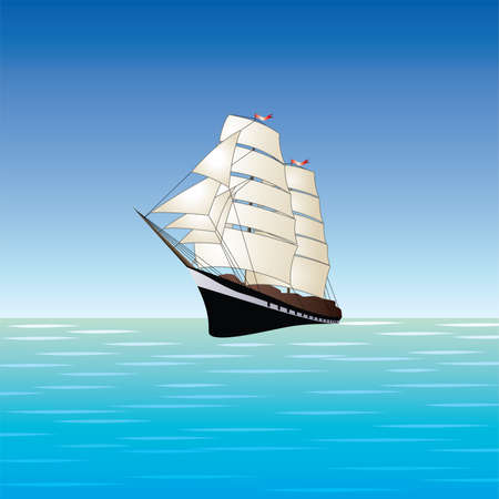 vector sailing ship illustration. old boat with sails in open sea or ocean. vintage sailboat travel background