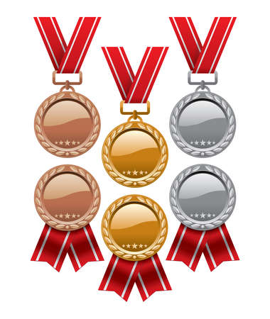 vector set of gold, silver and bronze medals with red ribbons isolated on white background.