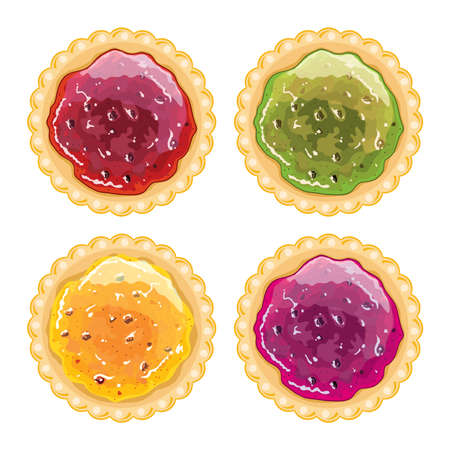 Vector jam pie set. Fruit tart with tasty berry jam filling isolated on white background