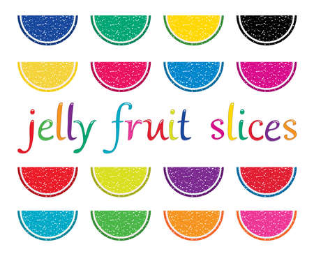 Set of colorful fruit jelly slices. 向量圖像