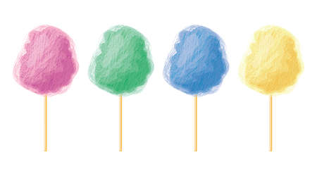 Colorful candy cotton. 矢量图像