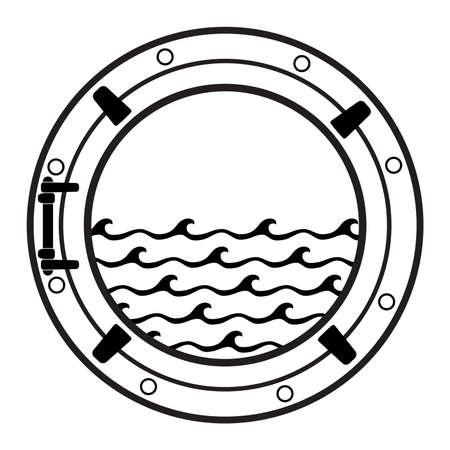 Vector black and white submarine boat window symbol with sea waves. Cruise ship cabin porthole icon.