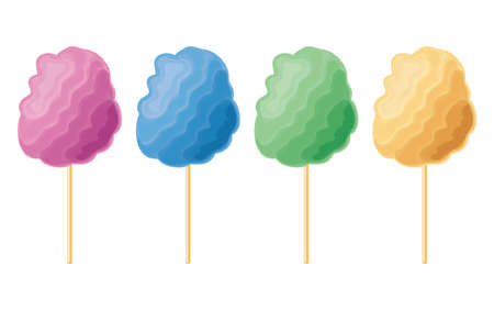 Vector colorful candy cotton set isolated on white background. Collection of sweet fluffy sugar clouds, flat design style. Eps10