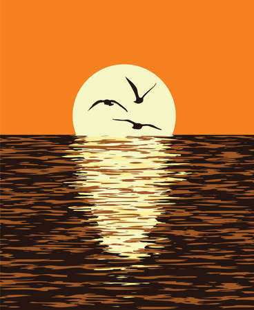 vector background of sea and evening sunset of the sun. Illustration of light reflection of sunlight in wavy ocean water and flying seagull birds ion yellow disk of the sun. Beautiful nature landscape. 일러스트