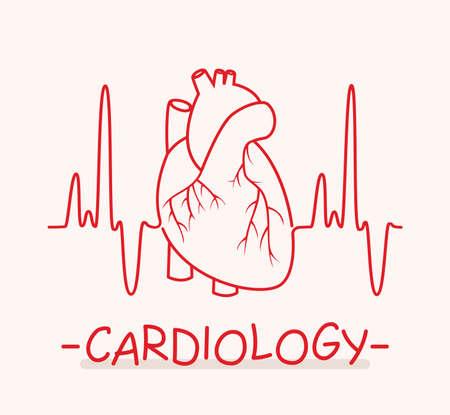 Vector human heart and heartbeat thin line as medical symbol of cardiology. Ekg heart pulse chart illustration.