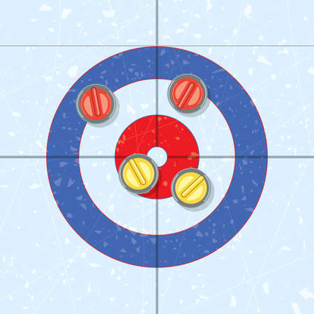 Vector red and yellow curling stones in the house, on ice rink. Curling sport game background. Team with yellow rocks wins the end. Vector illustration.