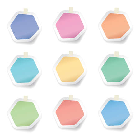 vector collection of colorful hexagon sticky paper notes