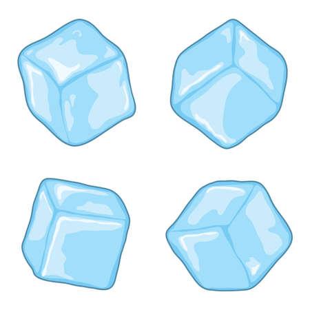 ベクトルアイスキューブは、白い背景に分離されています。青、透明な氷の立方体の塊