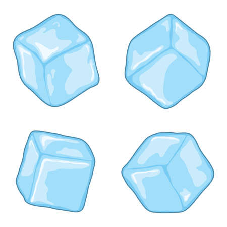 vector ijsblokjes geïsoleerd op een witte achtergrond. blauwe, transparante stukjes ijsblokjes