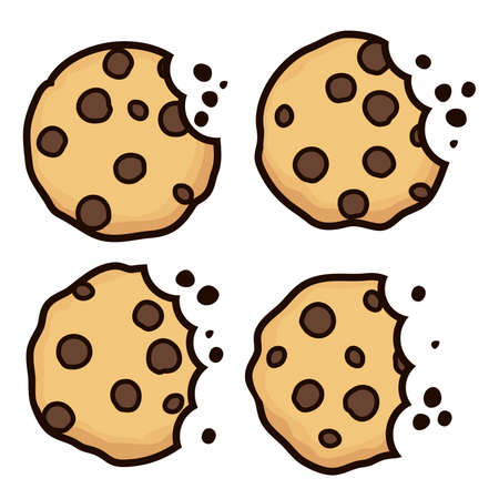vector set of chocolate chip bitten cookies isolated on white background. symbols of homemade biscuit choc cookie with a bite and crumbs. top view of flat cookie clipart collection Illustration
