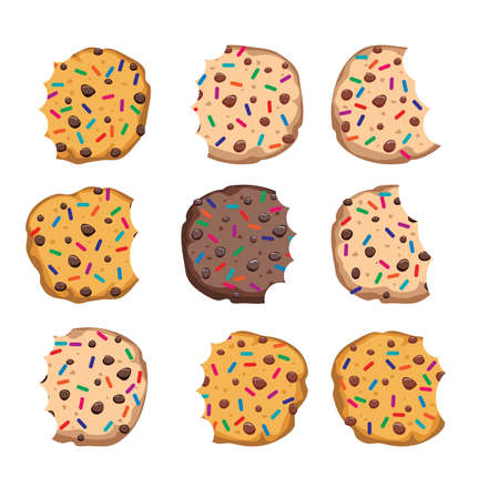 vector set of chocolate chip cookies with sprinkles isolated on white background. homemade bitten biscuit choc cookie collection Illustration