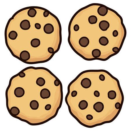 Vektorsatz ganze Plätzchen des Schokoladensplitters lokalisiert auf weißem Hintergrund. hausgemachte Keks Choc Cookie Symbol Sammlung. Draufsicht des flachen Plätzchens clipart